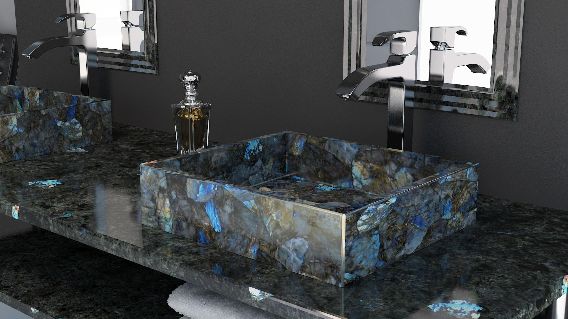 Gem Surfaces Electric Midnight Labradorite Modern Bathroom Gemstone Slabs Gemstone Tables Gemstone Tiles Gemstone Surfaces